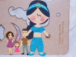 PRI13   Gabarito de Moldes  Princesa Jasmine – 20 cm