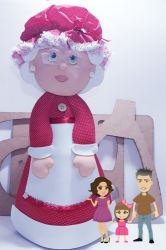 NATAL21  Gabarito de Moldes Mamãe Noel 50cm