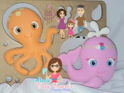 G413   Gabarito de moldes  Baleia e Polvo - Fundo do Mar Baby Cut - By Tatiane Costa