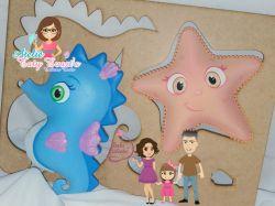 MAR03   Gabarito de moldes  Estrela e Cavalo Marinho - Fundo do Mar Baby Cut - By Tatiane Costa