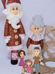 NATAL45  Gabarito de Moldes em MDF Mamãe e Papai Noel Cobre Garrafa de Vinho - Com Passo a Passo
