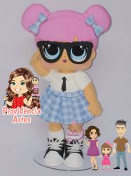 BO61   Gabarito de Moldes em MDF Kit Boneca Lol Teacher's Pet   - Juliana Farias
