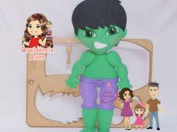 HER13   Coleção Heróis  Juliana Farias - Gabarito de Moldes em MDF Kit Hulk
