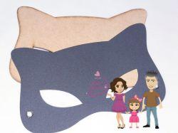 HER23  Gabarito de Moldes Mascara Mulher Gato