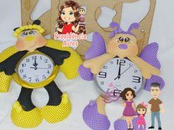 G616  Gabarito de moldes Kit Abelha, Borboleta e Joaninha -  Relógios Juliana Farias