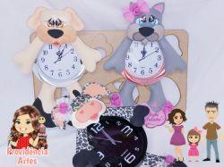 G617  Gabarito de moldes Kit Cão, Gato e Vaca -  Relógios Juliana Farias
