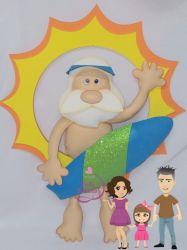 NATAL23   Gabarito de Moldes em MDF Kit Papai Noel na Praia