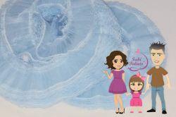 DI45 Renda Jabot Azul Bebê 5cm - 2metros