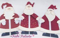 G670 Gabarito de Moldes  em MDF Trio Papai Noel 40cm