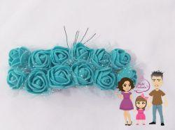 DI200 Mini rosas em EVA  azul turquesa