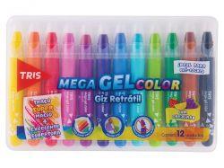 DI218  Kit Mega GEL Giz retrátil 12 cores com cheirinho