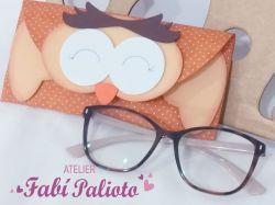 G819  Gabarito de Moldes  em MDF  Carteira Corujita - Porta óculos